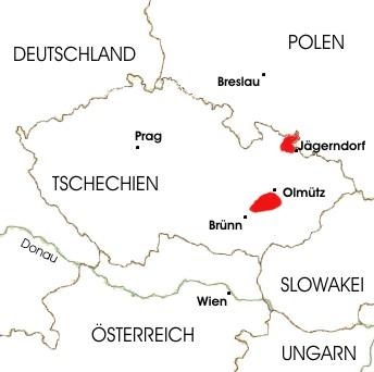 Die zwei Goldemund-Herkunftsregionen (rot) im heutigen Tschechien.